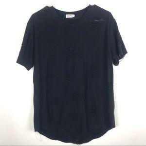 Kuegou Large Distressed Short Sleeve T Shirt Top